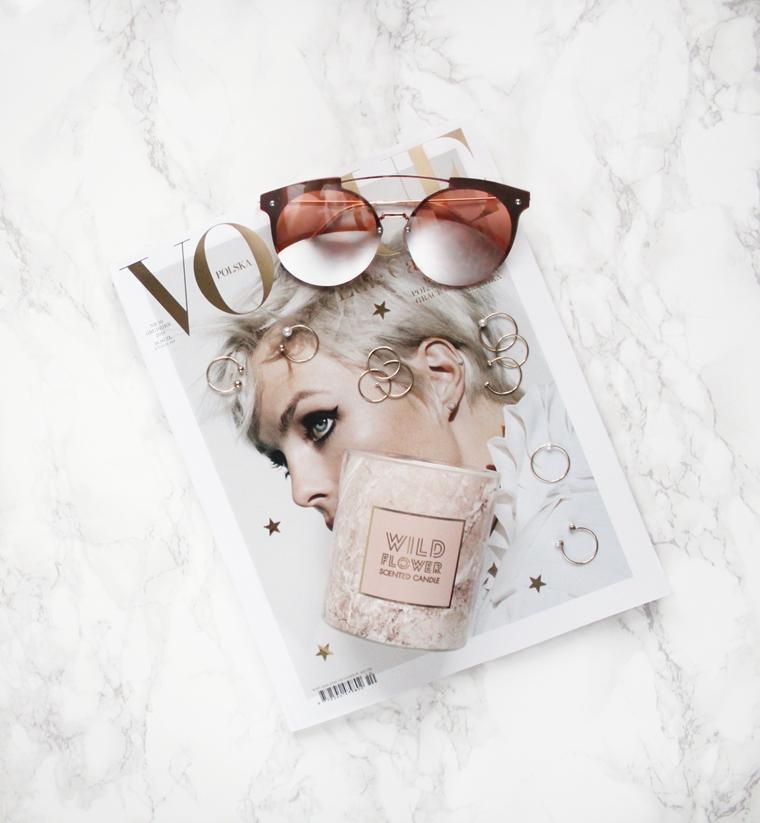 Nowości w mojej garderobie i nie tylko Okulary rose gold H&M + marmurowa świeca H&M Home