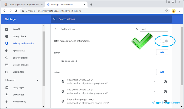 cara menghilangkan notifikasi chrome di laptop