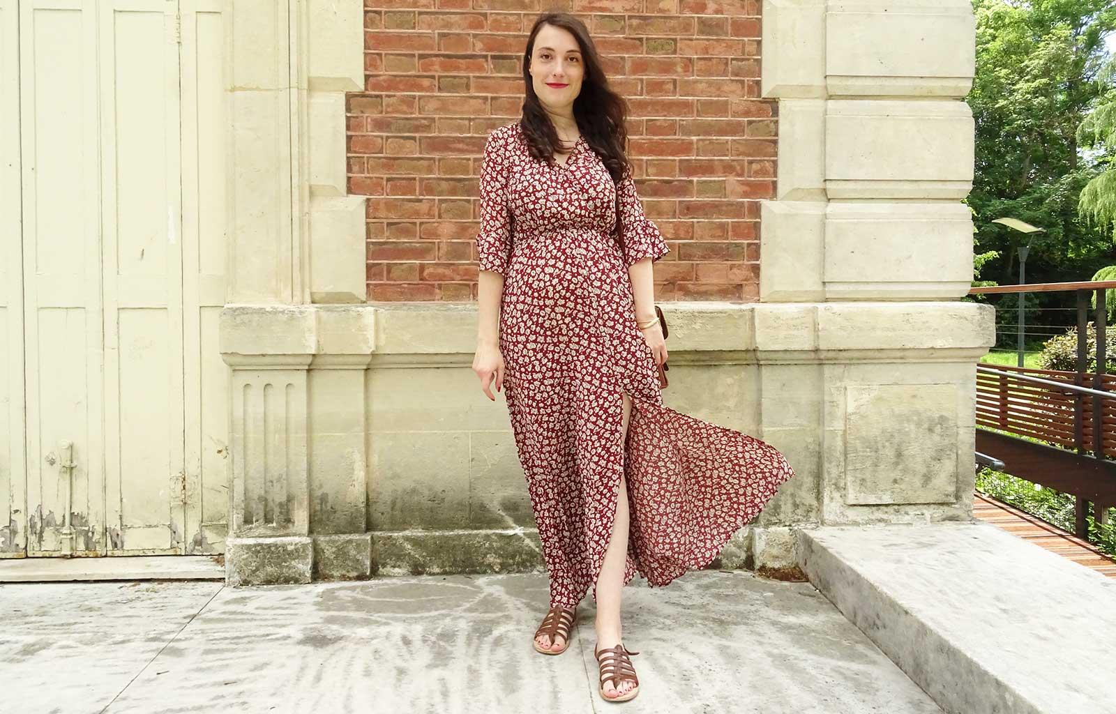look robe longue bordeaux shein