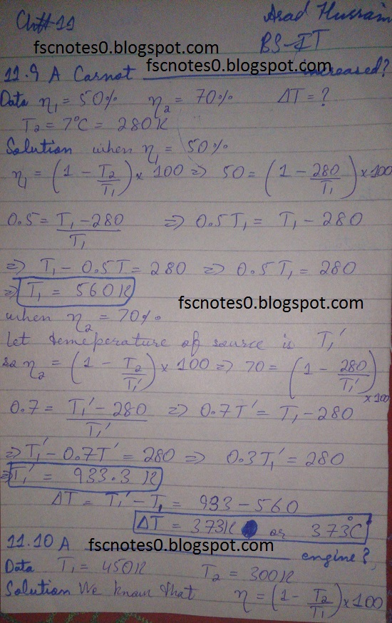 F.Sc ICS Notes: Physics XI: Chapter 11 Heat and Thermodynamics Numerical Problems Asad Hussain 4