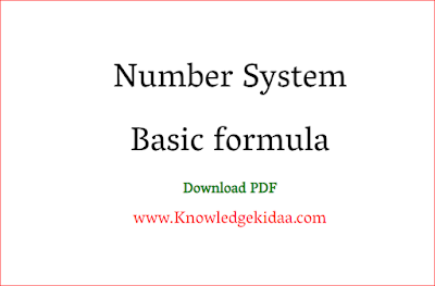 Number System Basic formula
