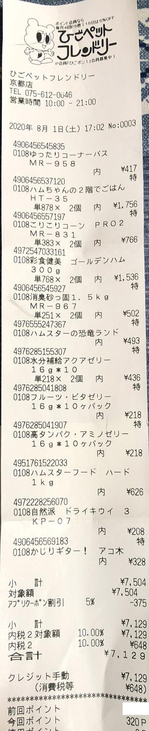 ひごペットフレンドリー 京都店 2020/8/1 のレシート