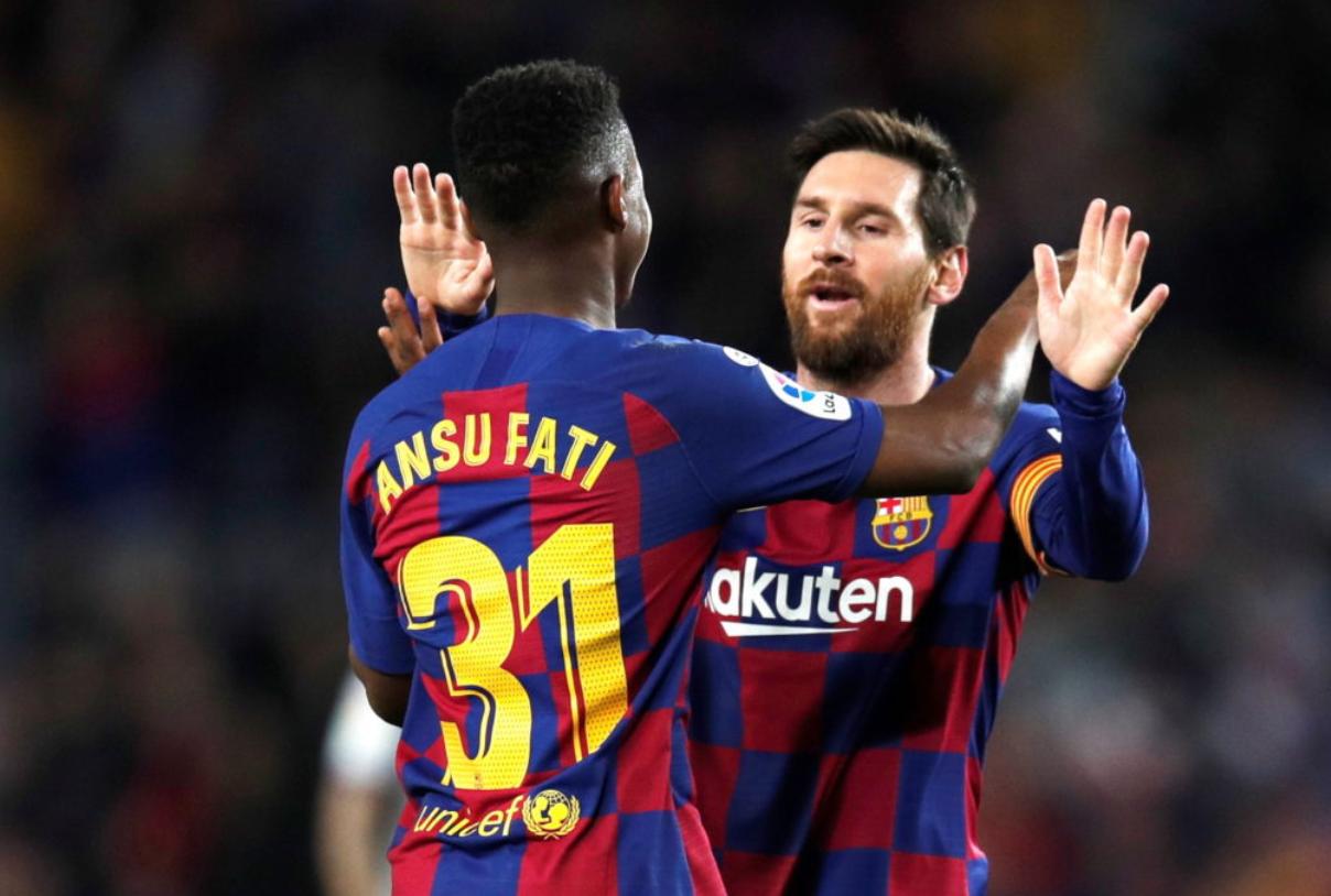 Ansu Fati and Lionel Messi - Barcelona FC
