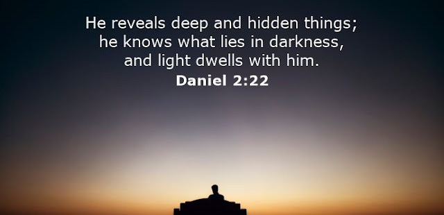 He reveals deep and hidden things; he knows what lies in darkness, and light dwells with him.