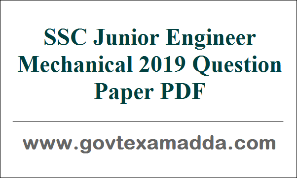 ssc je mechanical 2019 question paper pdf