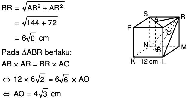 Titik A terletak di tengah garis QS. Jarak antara titik A ...