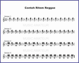 gambar notasi reggae untuk ritem gitar atau piano