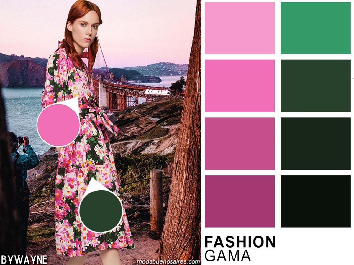 Gama de corales y verdes, posibles combinaciones. Moda colores primavera verano 2020. Tendencias colores verano 2020.