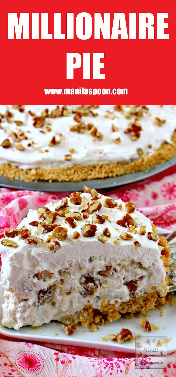 IIn 15 minutes or less you can make this easy and yummy classic pie that's creamy, fruity-sweet, light and no bake, too. We served this in a potluck and it was a huge hit! Perfect for Christmas and New Year celebrations!! | manilaspoon.com