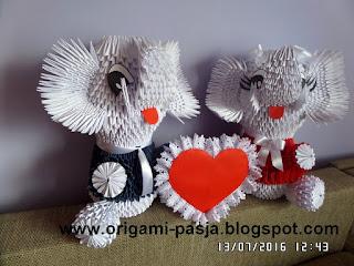 papier, origami 3d, prezent, na szczęście