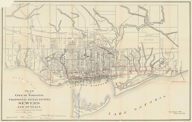 1889 Toronto Plan of proposed Intercepting Sewers and Outfall by Hering & Gray