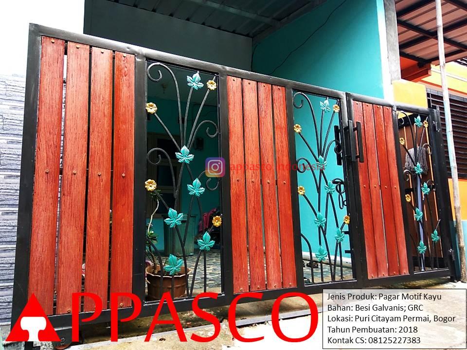 Pagar Minimalis Motif Ranting Bunga di Puri Citayam Permai Bogor