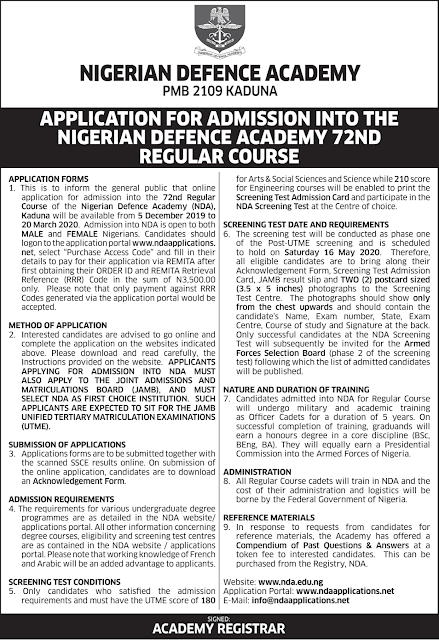 NDA 72nd RC Application Form Guidelines 2020/2021 [UPDATED]