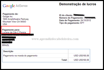 Demonstração de lucros do Adsense