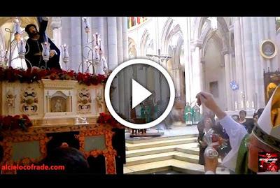 Bendicion del Santisimo Cristo de las Tres Caidas de Madrid, Titular de la Hermandad de Tres Caidas y Esperanza de Madrid cuya sede canonica es la real iglesia de San Andres en el barrio de la latina en el madrid de los austrias cerca del palacio real de madrid y de la plaza mayor
