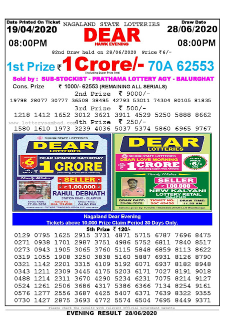 Nagaland State Lottery Sambad 19-04-2020 Today Result 8 PM