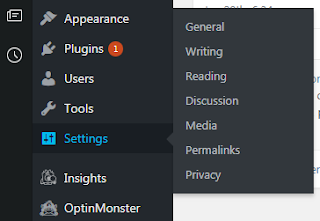 WP Settings sub menu tabs