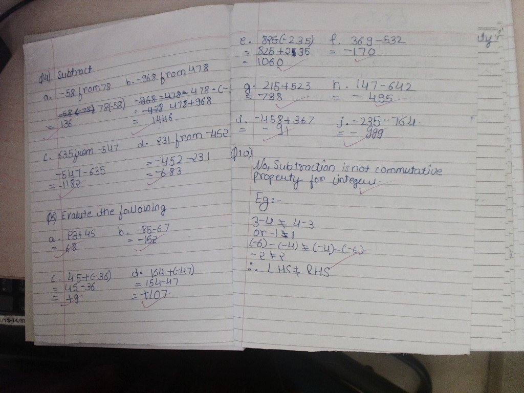 Pis Vadodara Std 7 Grade 7 Math Notebook Work