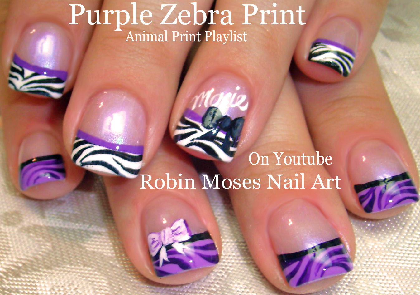 Nail Art by Robin Moses: Hot Pink Nails with Black and Silver Zebra ...