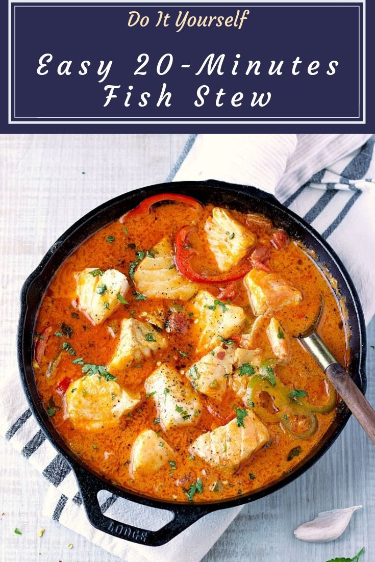 Easy 20-Minutes Fish Stew - Easy 20-Minutes Fish Stew cooking in a delicious and rich broth!