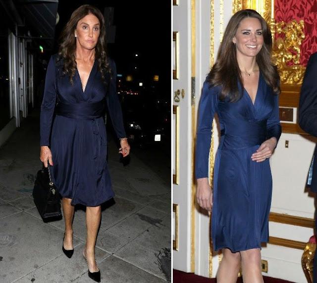 Bruce Jenner com o mesmo vestido que Kate Midleton