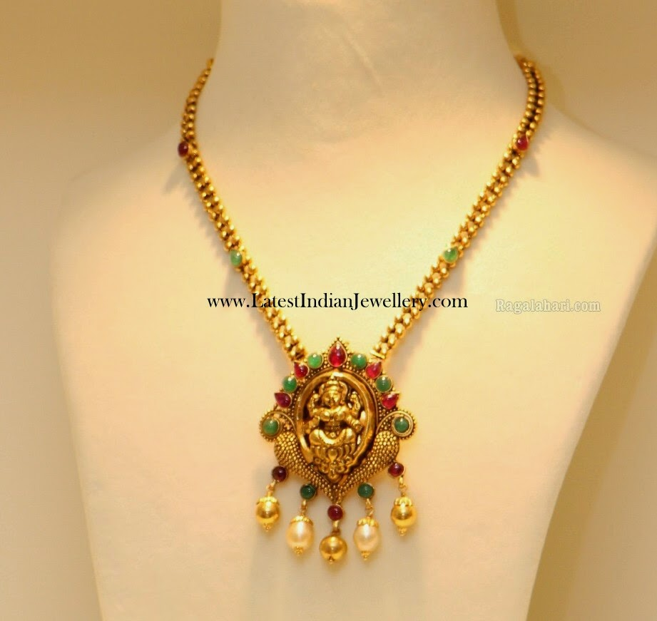 Gold Chain with Temple Pendant
