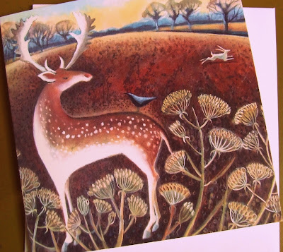 Greetings card, Stag and Hare by Hannah Giffard