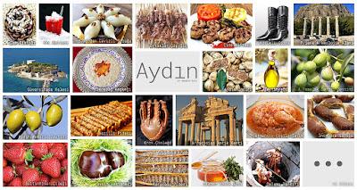 Aydın'ın meşhur şeylerini gösteren resimlerden oluşan kolaj