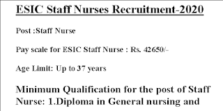 ESIC Staff Nurse Recruitment Apply before Last date