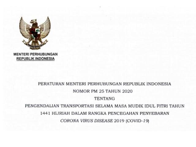 Permenhub Nomor 25 Tahun 2020 tentang Pengendalian Transportasi Selama Musim Mudik Idul Fitri 1441 H