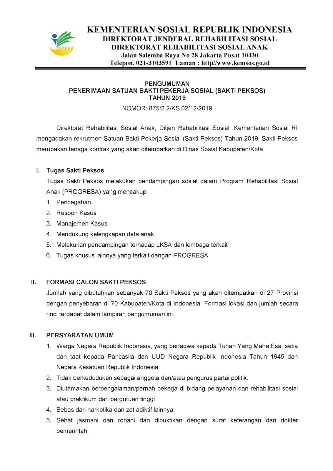 Lowongan Kerja Sakti Peksos Kementerian Sosial Republik Indonesia Besar Besaran [70 Formasi]
