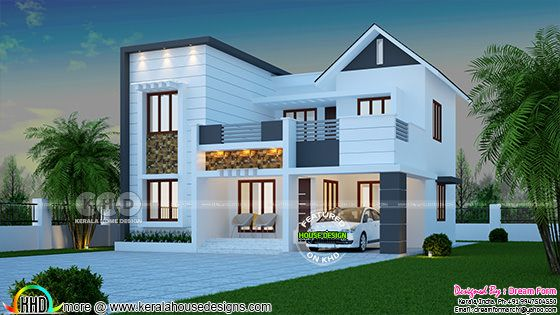 1766 square feet 3 bedroom modern Kerala home design