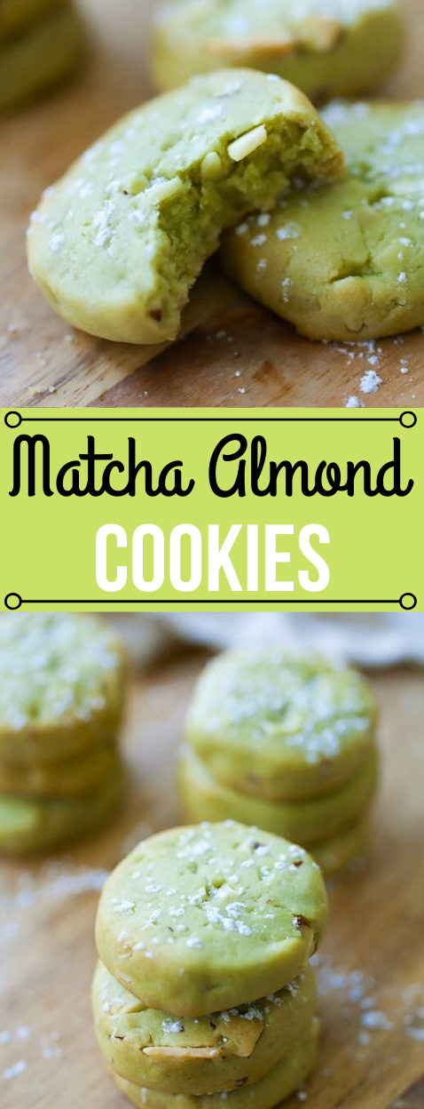MATCHA COOKIES WITH ALMOND #almond #cookies #matcha #recipes #diet