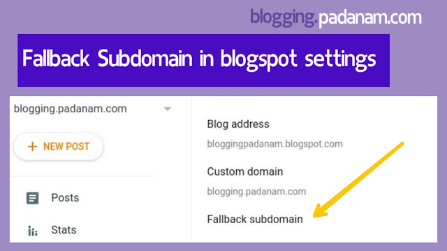 adding fallback subdomain in blogspot blog