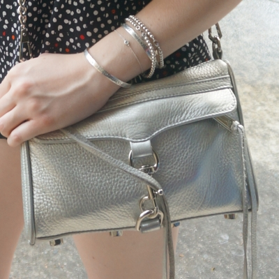 Rebecca Minkoff metallic silver mini MAC, bracelet stack | Away From The Blue
