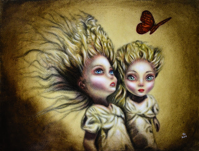 painting of two little sisters chasing a butterfly by tiago azevedo a lowbrow pop surrealism artist