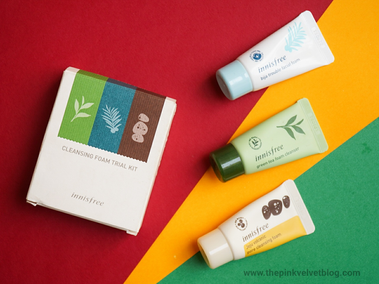Review - Innisfree Jeju Volcanic, Green Tea and Bija Trouble Foam Cleanser