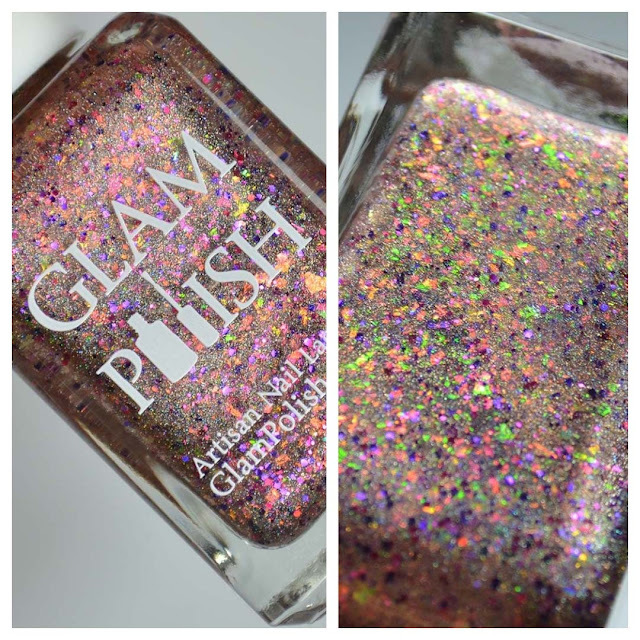 gold holographic nail polish in a bottle