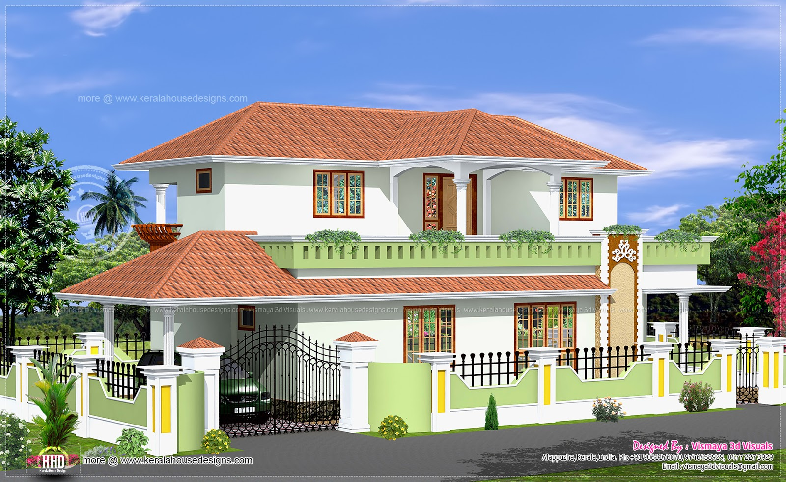 Simple 4 bed room kerala style house home kerala plans for Simple mansion