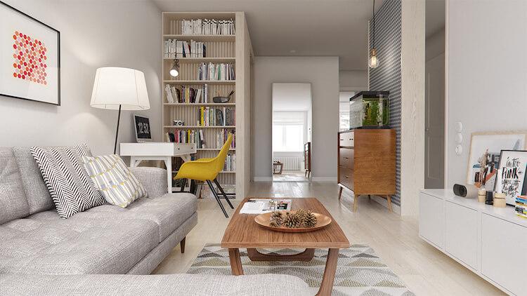 Reforma de un pequeño apartamento, salón con zona de trabajo