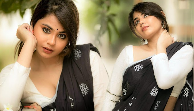 Monica Chinnakotla Pics In Black Printed Saree Photos