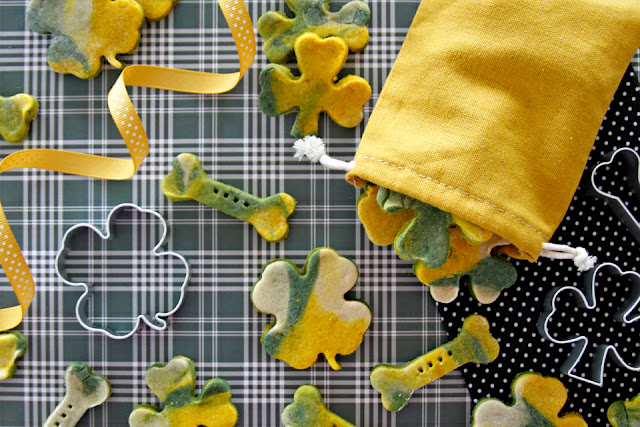 Homemade marbled green and gold St. Patrick's Day baked dog treats