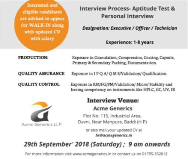 Acme Generics Walk In Interview For Quality Assurance, Quality Control, Production at 29  Sep