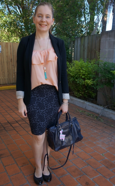 jacquard pencil skirt with navy rebecca minkoff regan bag peach ruffle cami and jersey blazer | awayfromblue