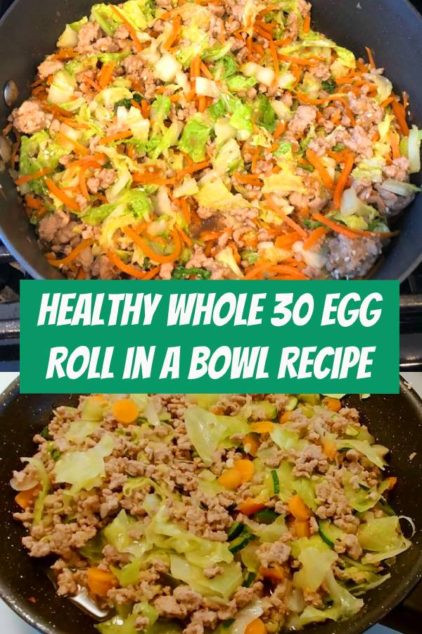 This Egg Roll in a Bowl recipe is loaded with Asian flavor and is a Paleo, Whole30, gluten-free, dairy-free and keto recipe to make for an easy weeknight dinner. From start to finish, you can have this low carb and healthy family dinner recipe ready in under 30 minutes! #Groundturkey, sesame oil, cabbage, and carrots make up the bulk of this Asian flavored #lowcarb #healthydinner #glutenfree #keto #eggrollinabowl