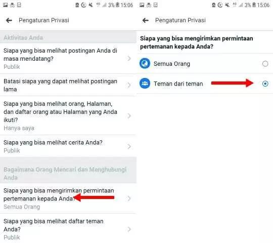 Cara Agar Facebook Tidak Bisa di Add Oleh Sapapun Lewat HP