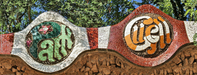 Letrero del Park Güell de Gaudí