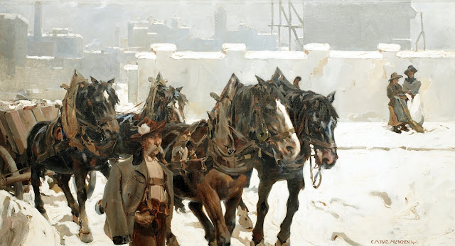 Invierno en Múnich, Enrique Martínez Cubells, Pintor español, Pintores españoles, Martínez Cubells, Paisajes de Enrique Martínez Cubells, Pintores Valencianos