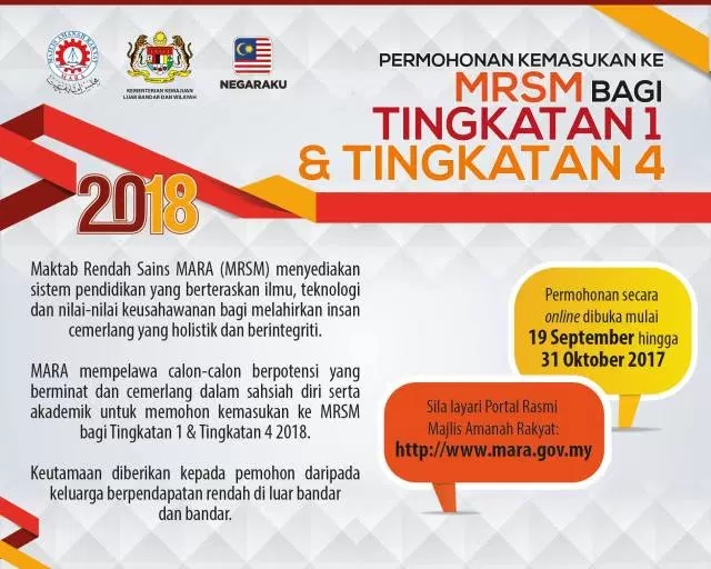 permohonan kemasukan mrsm 2018 tingkatan 1