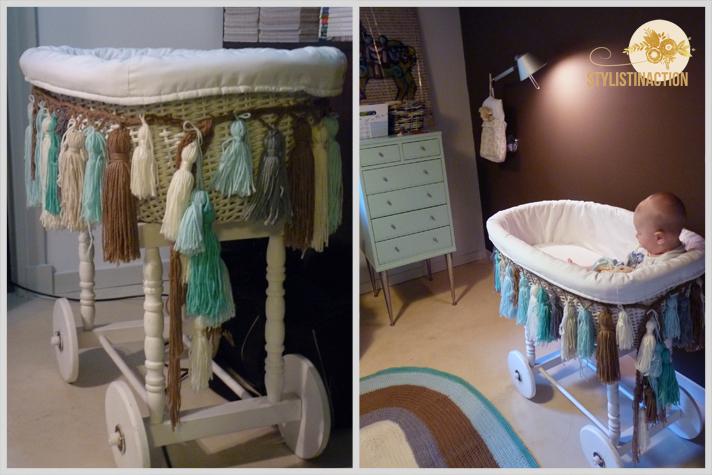 Portada post DIY guirnalda de borlas para todos los ambientes - Moises con las borlas y alfombra tejida al crochet con la misma lana